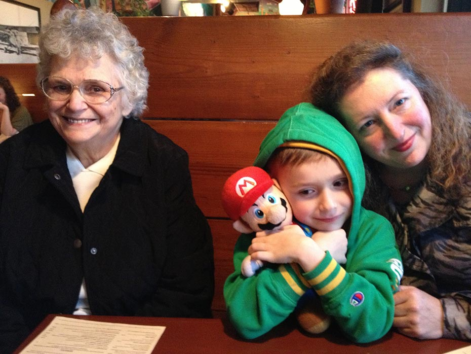 Ty and his friend enjoy dinner with his Grandma and Aunt Lynette at dinner friday night