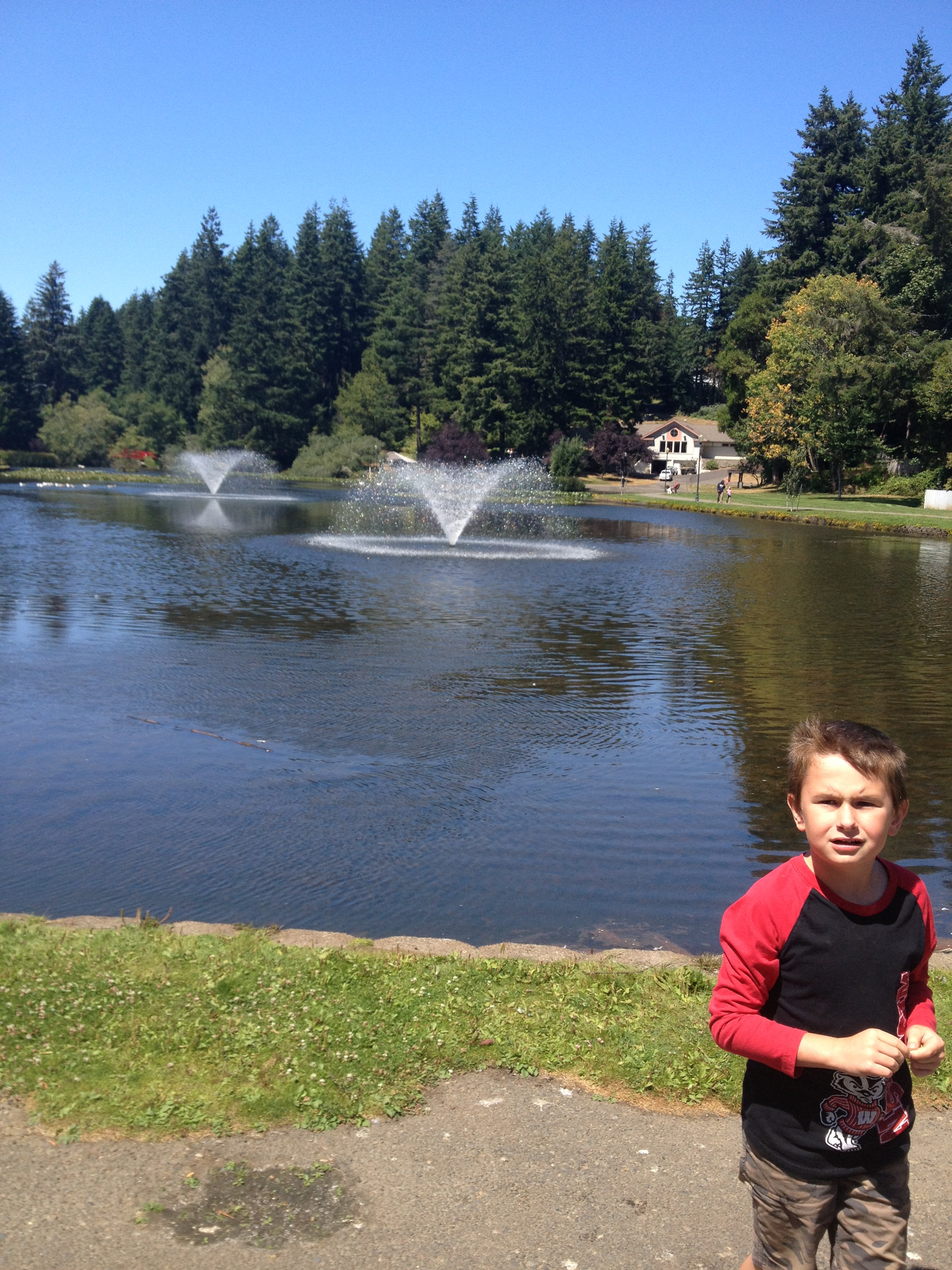 Stone enjoying Mingus Park in Coos Bay, Oregon during our vacation in August