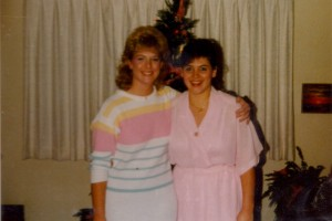 Anna and Aida pose in front of our famous Christmas tree. Circa 1986.