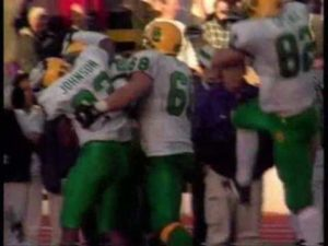 Patrick Johnson celebrates with Ducks teammates after hauling in the game-winning TD grab at Husky stadium to secure a 31-28 upset over the #6 ranked Huskies.